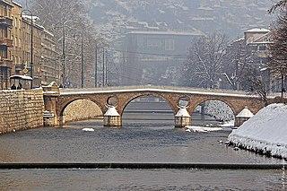 Ottoman bridge over the river Miljacka in Sarajevo