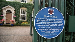 Boston Hall, Boston Spa - Blue plaque outside the house