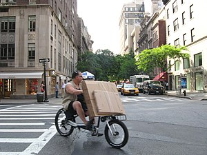 Cycling in New York City - Carrying freight on Madison Avenue