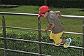 Boy Jumping Over Railings - Science City - Kolkata 2018-09-23 4270.JPG