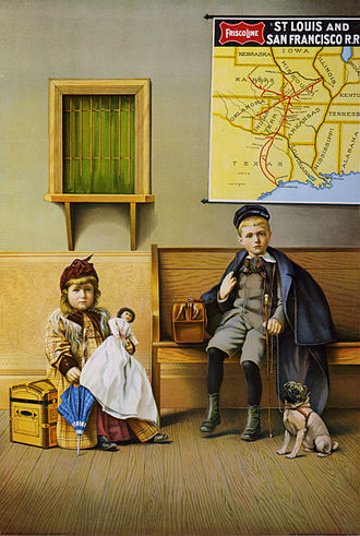 St. Louis–San Francisco Railway - 1899 poster showing a boy and a girl in a SLSF waiting room
