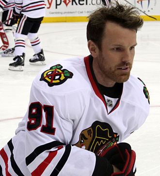 Brad Richards - Richards warming up with the Chicago Blackhawks in December 2014