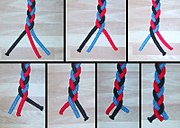 Step by step creation of a basic braid using three strings