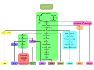 Nizari - Branching of Ismāʿilism within the Shi'a Islam at a glance. ( Note: Kaysani's Imam  Hanafiyyah is descendant of Ali from Ali's  wife Khawlah, not Fatimah)