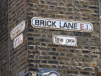 A Bengali sign in Brick Lane in London, which is home to a large Bengali diaspora Brick Lane - London.jpg