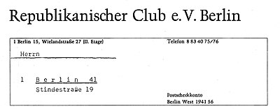 Briefbogen Republikanischer Club e.V. Berlin