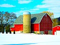 Bright Red Barn with a Silo - panoramio.jpg