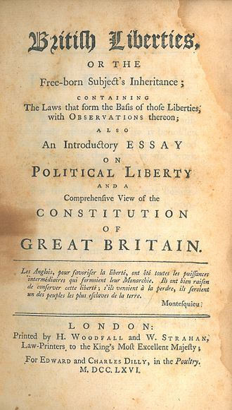 Henry Sampson Woodfall - Image: British Liberties, or the Free born Subject's Inheritance (1st ed, 1766, title page)