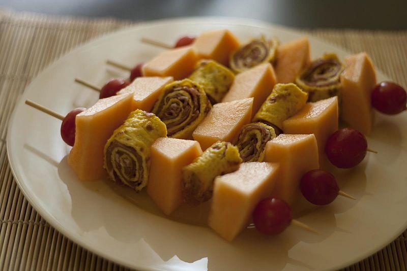 File:Brochette with melon and Parma ham (5921854904).jpg