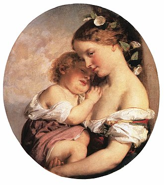 Transmission (medicine) - Brocky, Karoly - Mother and Child (1846-50)