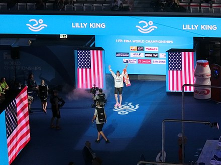 King at the 2017 World Championships in Budapest. Budapest2017 fina world championships 100breaststroke final lilly king usa.jpg