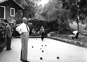 Lawn game - People playing bocce in Italy, 1958