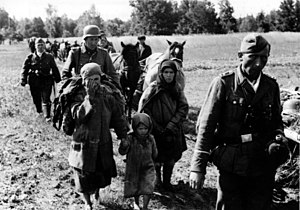 "Walter Schimana - ""Battle group Schimana"" somewhere in Russia, with noncombatant women and child."
