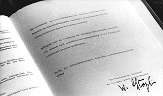 Constitution of East Germany - 1974 amendment, signed by Chairman of the Council of State Willi Stoph.