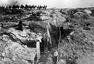 Spring Offensive - Germans passing a captured British trench