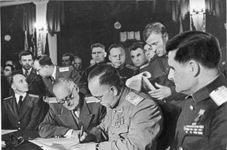 Andrey Vyshinsky - The unconditional surrender of the German Wehrmacht is signed on 8 May 1945 in Karlshorst by Marshall Zhukov, General Sokolovsky and Vyshinsky.