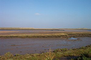 Burnham Overy - The creek, saltmarshes and, in the distance, harbour mouth
