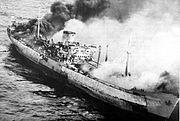 Burning freighter MV Galinda in the South China Sea in June 1972.jpg