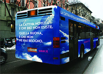 Atheist Bus Campaign - The original bus advert of the Italian campaign.