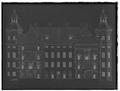 Byggnadsritning med tvärsektion på Skoklosters slotts gårdfasad - Skoklosters slott - 68747-negative.tif