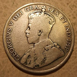 50-cent piece (Canadian coin) - Image: CANADA, GEORGE V 1917 50 CENTS b Flickr woody 1778a