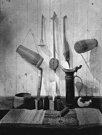 Karo people (Indonesia) - Musical instruments and other items identified as Karo Batak, photograph (circa 1870) by Kristen Feilberg.