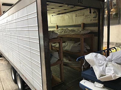 Deceased in a 53-foot 'mobile morgue' outside a hospital in Hackensack, New Jersey, United States on April 27