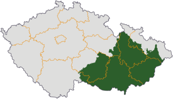 Moravia (green and red) in relation to the cur...