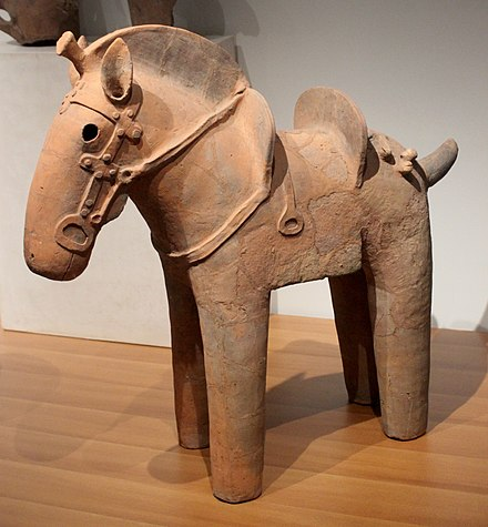 6th-century Japanese haniwa clay figure; these were buried with the dead in the Kofun period (3rd to 6th centuries CE) Caballo Haniwa Guimet 01.JPG