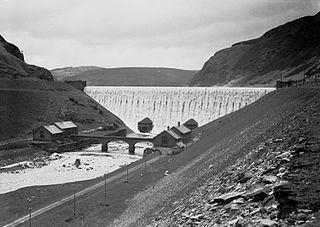 Caban Coch dam in the Elan Valley