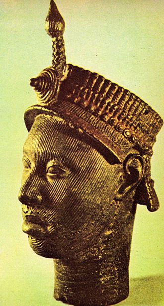 Lagos Colony - Brass head of a Yoruba king from Ife, 13th century