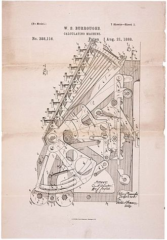 Adding machine - Patent drawing for Burroughs's calculating machine, 1888.