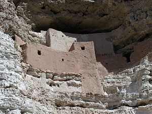Indigenous peoples of Arizona - Cliff dwelling located in Montezuma Castle National Monument. The dwelling was built and used by the Pre-Columbian Sinagua people.