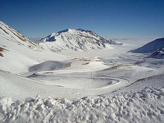La piana di Campo Imperatore in inverno