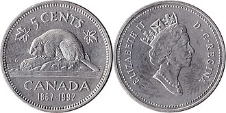 Nickel (Canadian coin) - Image: Canada $0.05 1992