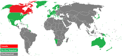 Map of the world, showing visa requirements.