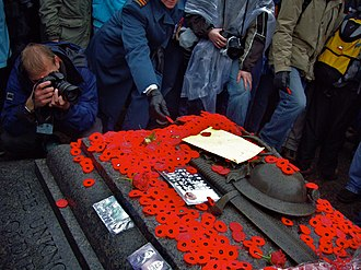 Canadian Tomb of the Unknown Soldier - Poppies placed on the tomb on Remembrance Day