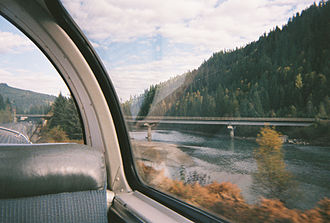 Canadian (train) - The North Thompson River and bridge from the train.