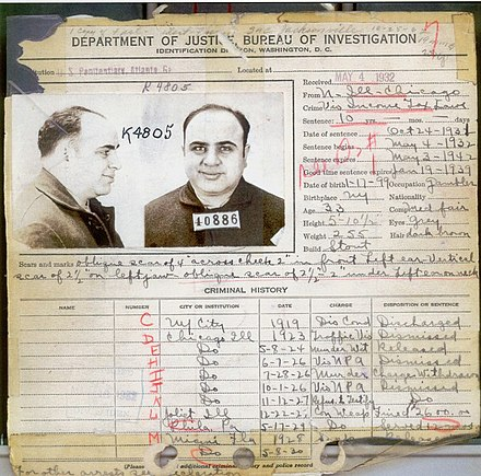 Capone's FBI criminal record in 1932, showing most of his criminal charges were discharged/dismissed Capone's criminal record in 1932.jpg