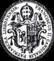 Carimbo de óleo heráldico usado por D. Francisco de S. Luís, Cardeal Patriarca de Lisboa (escudo partido das armas da Congregação de S. Bento e de Saraiva, sobrepujado pela tiara Patriarcal).png