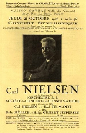 Flute Concerto (Nielsen) - Front page of the programme for the premiere on 21 October 1926 in Paris