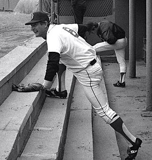 Carl Yastrzemski - Yastrzemski in the dugout at Fenway Park