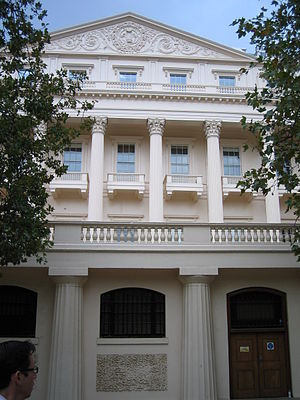 Carlton House Terrace - The terrace seen from the south, with the squat Doric columns at ground level and the Corinthian columns and pediment above