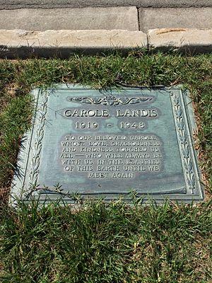 Carole Landis - Grave of Carole Landis at Forest Lawn Glendale.