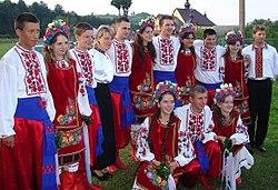 Carpatho-Rusyn sub-groups - Transcarpathian Rusyns in original goral folk-costumes from Maramureş ..jpg