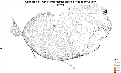 "Cartogram of ""other"" presidential election results by county"
