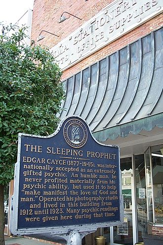 Edgar Cayce - Historic marker in downtown Selma, Alabama, in front of the building where Cayce lived and worked from 1912 to 1923.