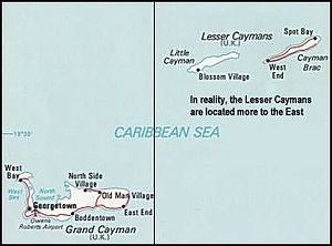 Outline of the Cayman Islands - An enlargeable map of the Cayman Islands