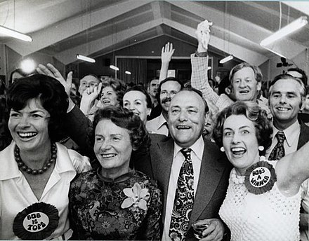 Muldoon and Thea Muldoon (centre left) with National members celebrating on election night, 29 November 1975 Celebrating on election night, November 29 1975.jpg
