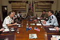 Chairman of the Joint Chiefs of Staff Navy Adm. Mike Mullen, left, and Australian Defense Force Air Chief Marshal Angus Houston, right, conduct bilateral meetings at the Victoria Barracks in Melbourne 101109-N-TT977-019.jpg